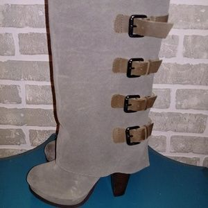 Gray Suede & leather boots by REPORT Sz 6.5